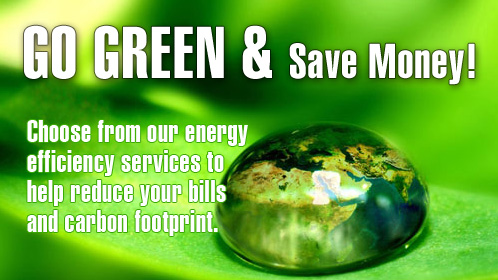 Go Green and Save Money! Choose from our energy efficiency services to help reduce your bills and carbon footrpint.